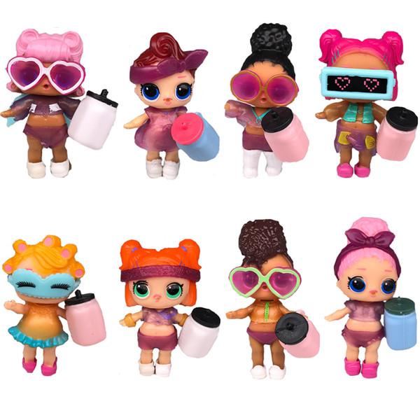 8pcs / lot LOL DOLLS vêtements de vêtements bricolage bouteille fille lol Baby Doll Changement avec des lunettes d'action Figure Jouets pour les filles enfants cadeau LOL jouets