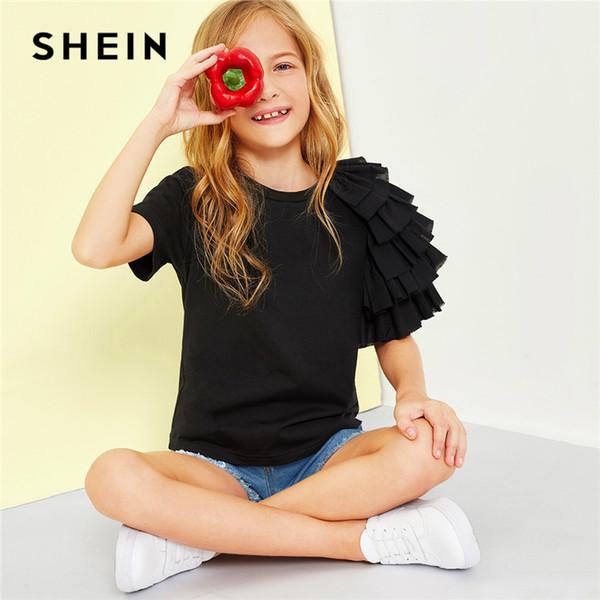 2019 Black Girls fashion Sleeve Casual T-shirt Girls Tops 2019 Spring Fashion Short Sleeve Elegant T-shirts Girls Tee