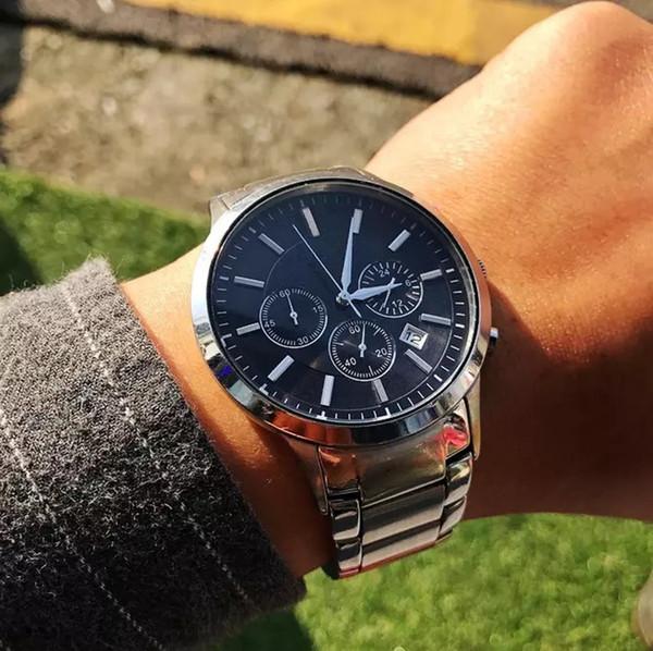 Sıcak satmak relogio masculino 40mm askeri spor kol saati Üst tarzı iri yarı adamlar lüks moda tasarımcısı durdurma siyah erkek saati saatler saatler