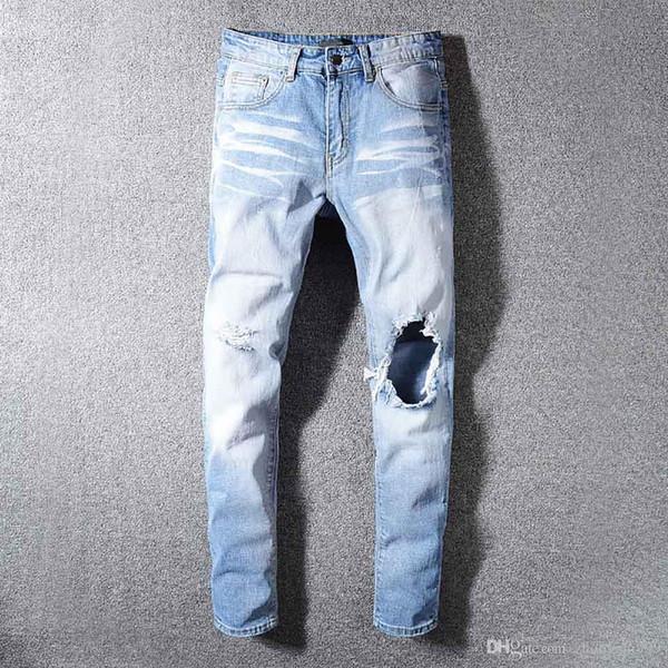 Мужчины Роскошные джинсы высокого качества Европа США Tide Brand Personality Trend Брюки Комфортные Повседневный Boutique хип-хоп отверстие брюки