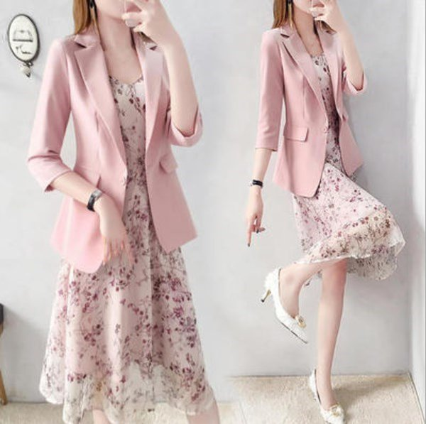 Spring Autumn Ladies Dress Suits For Office Wear Long Trench Coat And Knee Length Dress 2 Piece Set Women Formal Dresses Suit Women's Clothing