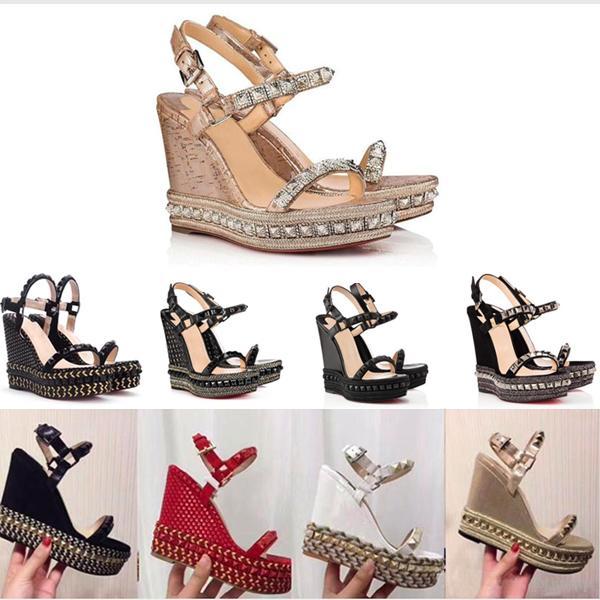 Diseñadores Plataforma de fondo rojo zapatos de tacones altos Sandalias con cuña Zapatos de alpargata Mujeres Tacón alto Sandalias de verano Plateado purpurina Sandalia de cuero