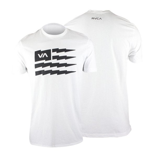 RVCA VA Sport Flag Bolt T-Shirt (White/Black) - mma surf skateFunny free shipping Unisex Casual Tshirt