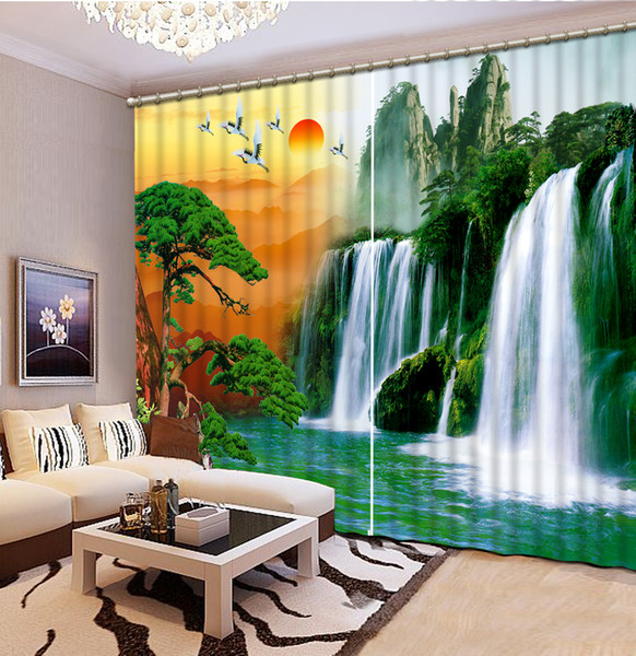 European Curtains Photo Painted 3D Curtain Living room nature scenery waterfall curtains