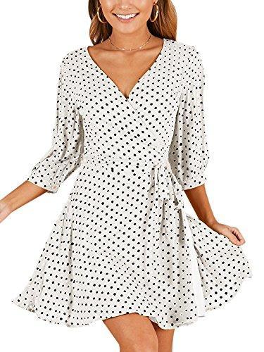 kirjaudu women chiffon wrap v neck 3/4 sleeve polka dot tie waist mini skater dress