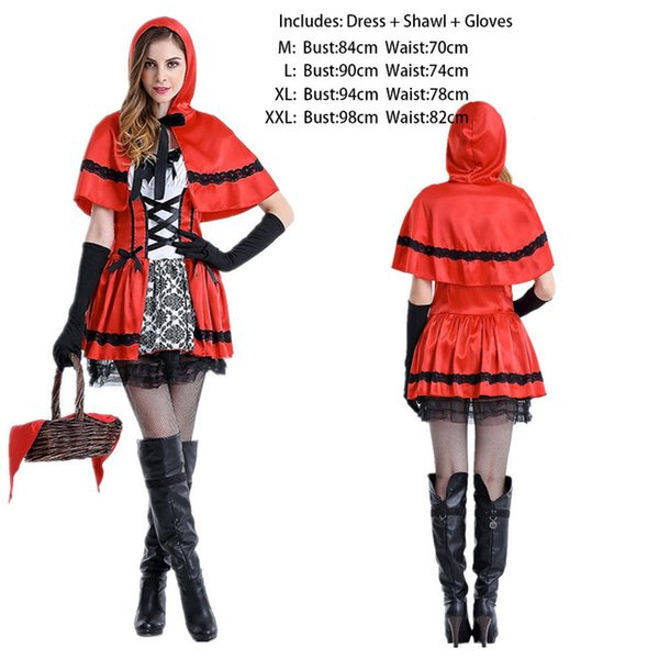 Cosplay Costumes Girls Women Halloween Christmas Cute Role Play Evil Little  Red Cap Dress Cloak New Princess Queen Stage Wear Clothing Group Costumes