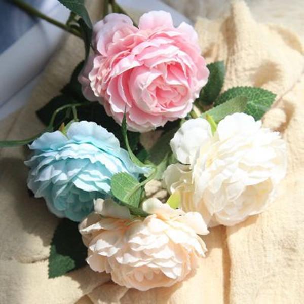 Boda de la peonía Ramos de flores de seda artificial para el partido casero decoraciones del jardín plantas falsas sola cabeza peonía nupcial mano ramo