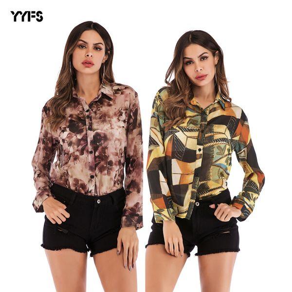 Women's Wear 2019 Paragraph Printing Chiffon Shirt Lapel Single Row Close Clothing Female