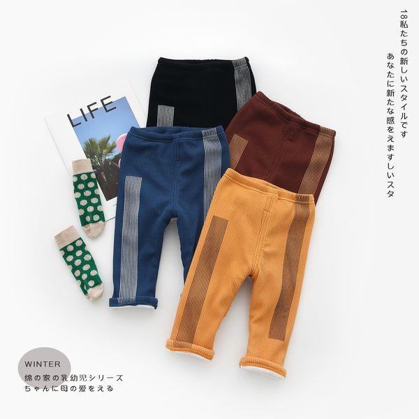 Baby Girls Leggings Cute Autumn Winter Knitted Pants Elastic Waist Cotton Causal Full Length Pants Velvet Warm Kids Clothes