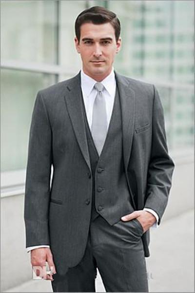 New Design Gray Groom Tuxedos Groomsmen Best Man Suits Mens Wedding Blazer Suits (Jacket+Pants+Vest+Tie) 1141