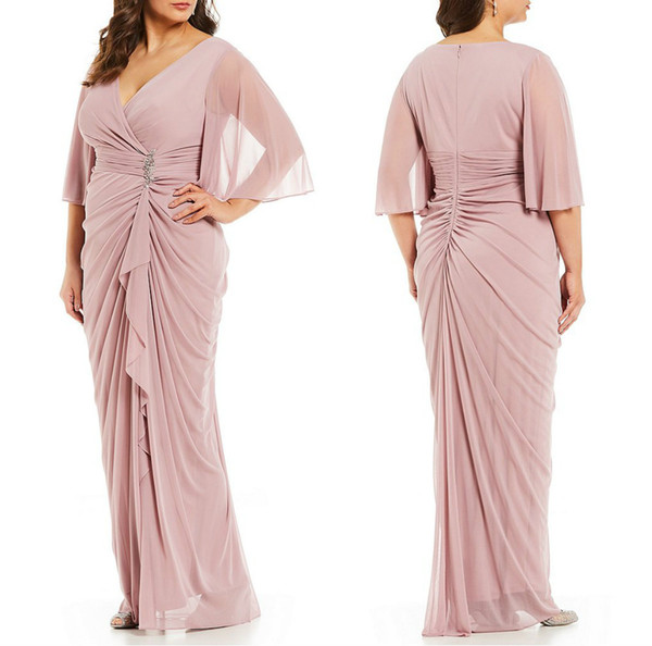 Pink Mother Of The Bride Dresses Sash Crystal Chiffon Half Long Sleeves Elegant Wedding Guest Dress V Neck Plus Size Evening Gowns