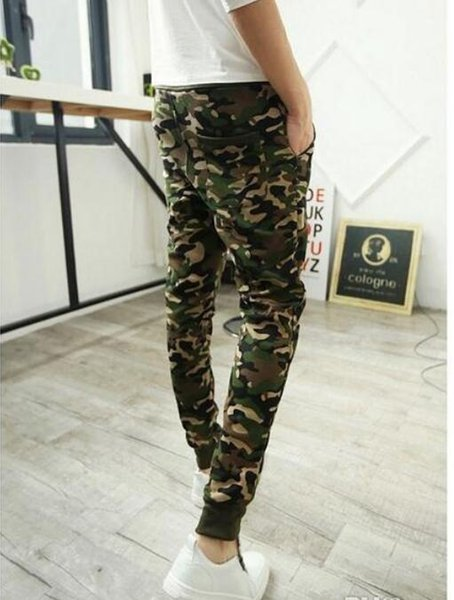 Camo baggy Joggers 2016 New Arrival Fashion Slim Fit Camouflage Jogging Pants Men Harem Sweatpants Cargo Pants for Track Training discount