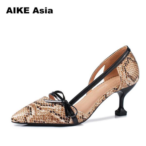 Designer Dress Shoes Brand Women Pumps 2019 Spring Pointed Toe Patent 6.5cm Stiletto Peach Dress Bride Serpentine Weeding Sandals