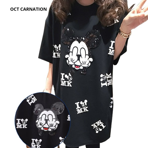Beading Cartoon Pattern Black Short-sleeve Straight Plus Size 5XL 2018 Summer Maternity T-shirt Dress Pregnancy Dress