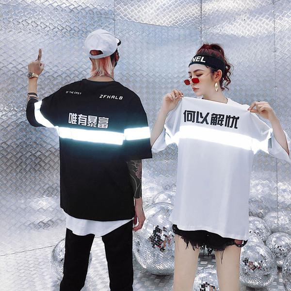 Kanji Rich T-Shirts Men Streetwear Cotton Tshirts Hip Hop Men 2019 Shine Fashion Peace Tops Tees for Couples