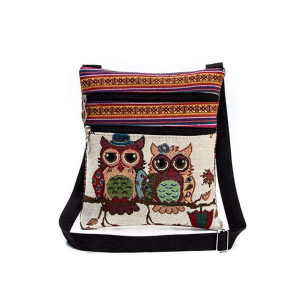 Cheap Transer Embroidered Owl Tote Bags Women Shoulder Bag Handbags Postman Package m12 30
