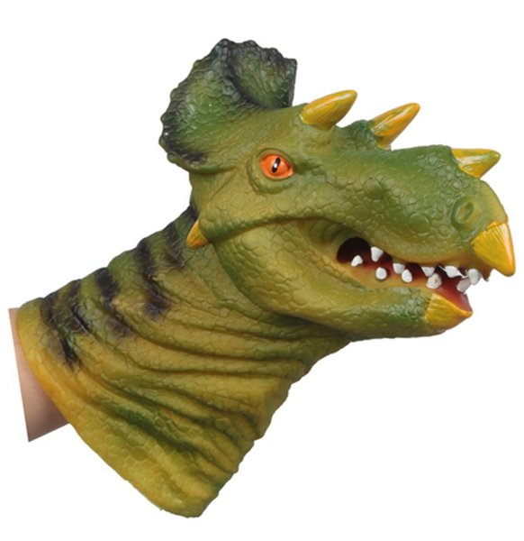 Triceratops Animal Hand Puppet Toy Mouth Simulation Animal Dinosaur Head Silicone Doll Gloves For Children Gift
