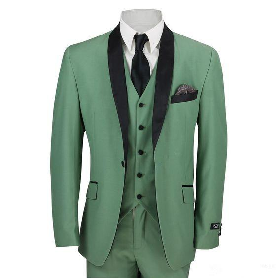 New 2019 Groomsmen Shawl Lapel Groom Tuxedos Green Men Suits Wedding Prom Best Man Blazer 3 Pcs (Jacket+Pants+Vest+Tie)