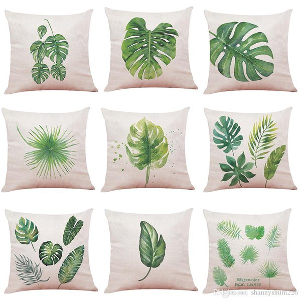 Novelty Tropical Plants Linen Cushion Cover Home Office Sofa Square Pillow Case Decorative Cushion Covers Pillowcases 2018 New(18*18Inch)