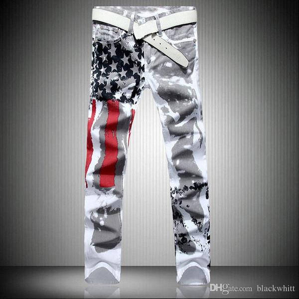 Les hommes blancs drapeau américain imprimé Jean Stretch Slim Casual à cinq branches Red Stripe Pants Jeans pour hommes Vêtements tailles S-5XL