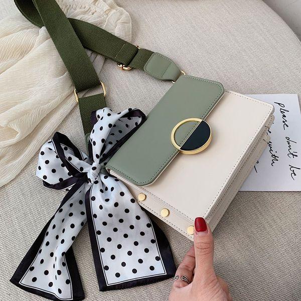 Arco de la cinta de color de contraste bolsa de cuero de Crossbody 2019 Moda de Nueva PU de la calidad del cuero de bloqueo del bolso de las mujeres del mensajero del hombro