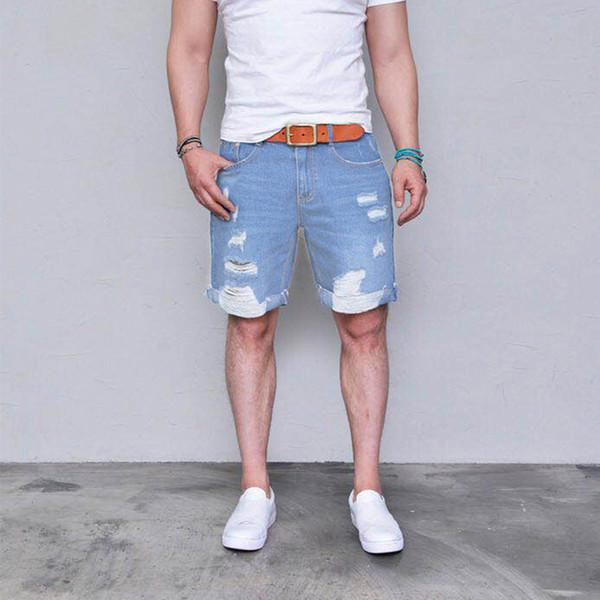 Jeans corti azzurri da uomo strappati shorts da strada con design casual a pois invecchiati