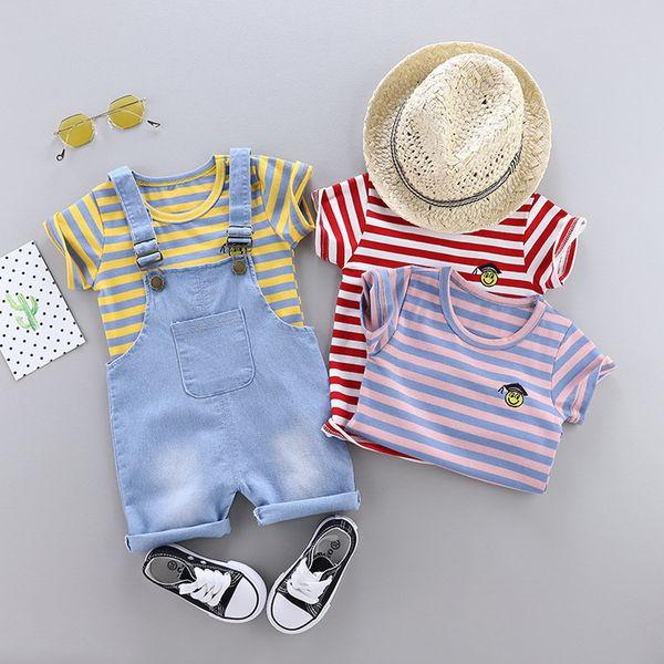 2019 Neugeborenen Kind Baby Mädchen Kleidung Kinder Baby Boy Print Tops T-Shirt + insgesamt gestreiften Hosenträger Hosen Outfits Strampler Set