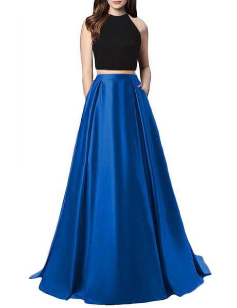 Royal Blue Jewel Neck Two Piece Prom Dresses Appliques Beaded Formal Evening Dresses Party Gowns Robe De Soiree Special Occasion Dresses