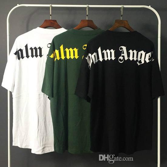 Palm Angels T shirt White Black Letters Print Summer Tees Men Women Oversized Tee Shirt Hip Hop Street Tops T-Shirts LXG1203