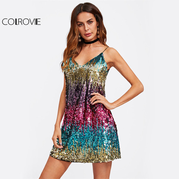 Colrovie Colorful Sequin Party Club Dress Women Sexy A Line Mini Summer Cami Dresses Fashion Sleeveless V Neck Hot Dress Q190402