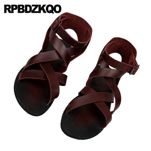 da9ceecad5f2b Leather Men Gladiator Sandals Summer Boots Burgundy Italian Strap Beach  Breathable Flat Black Roman 2018 Shoes Open Toe Runway #56885 Blue Shoes  Cheap ...
