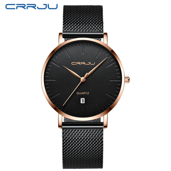 simple design crrju brand new style men business dress quartz watches daily date wristwatches gift relogio masculino, Slivery;brown