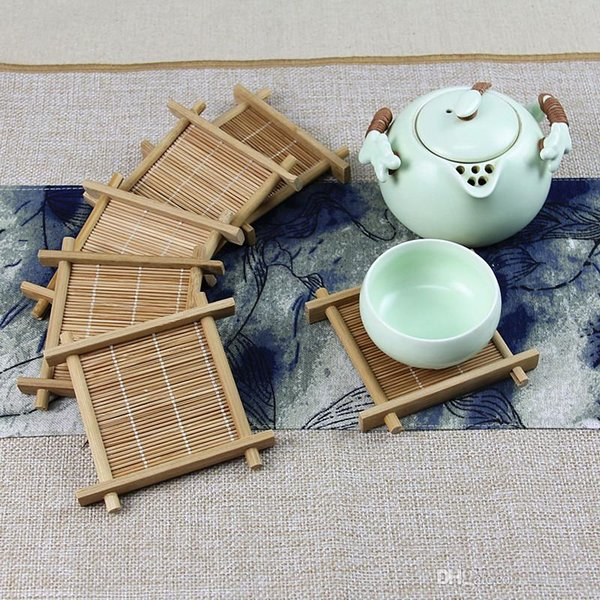 bamboo cup mat Kung Fu Tea Accessories Table placemats coaster coffee cups drinks kitchen accessories mug mats pads