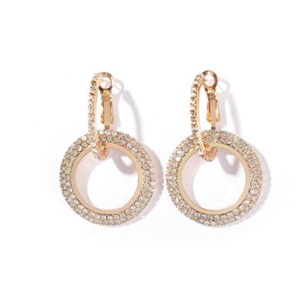 Charm Daire Küpe Geometrik Yuvarlak Parlak Kristal Rhinestone Tasarım Kadınlar için Büyük Küpe Altın Gümüş Moda Düğün Takı DHL