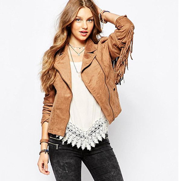 2018 women's hot sale fashion basic jackets button pockets tassel suede bomber jackets NEW winter coats Brown Tassel outerwear