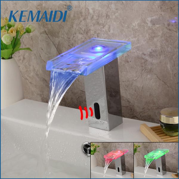 vente en gros chrome poli économie d'eau Led bassin lumière robinet automatique bain bassin mitigeurs cascade robinet capteur de bain Robinet