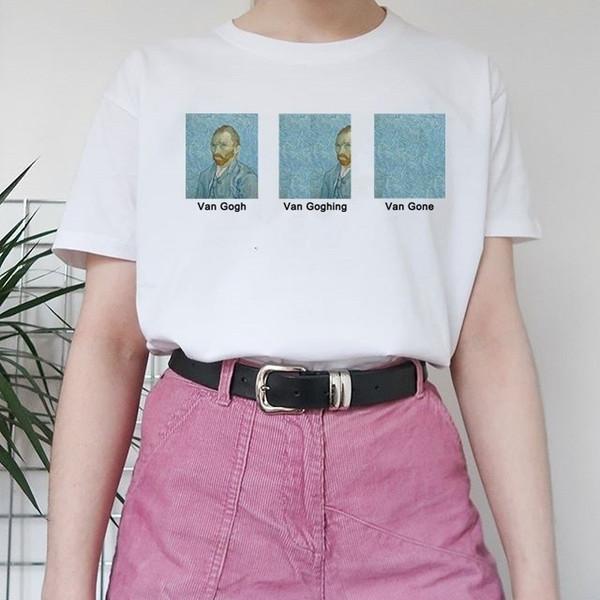Ayakkabı-JBH Van Gogh Van Goghing Gitti Meme Komik T-Shirt Unisex Hipsters Sevimli Baskılı Tee Vincent GoghFamous Yağlıboya
