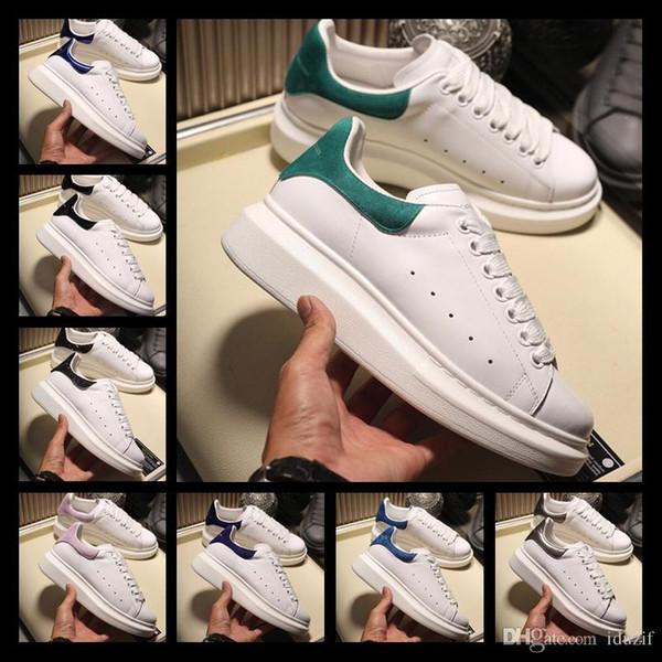 Iduzi Luxuriuos Designers Hommes Femmes Baskets Dames Filles En Cuir Bride Wrap Casual Chaussures Classic Balck Pure White Hommes Femmes Chaussures