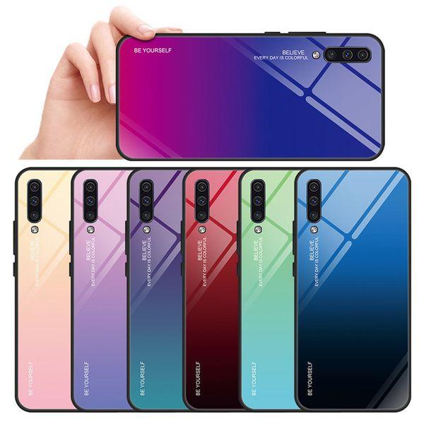 Fashion Gradation Color Rainbow Laser Tempered Glass case for Samsung Galaxy A20 A30 A20E A40 A50 A60 A70 J4 J6 2018 PLUS A7 A8 A9 2018