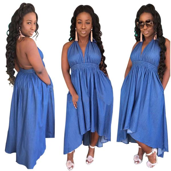 2019 sommer heißer fester blauer halter langes kleid frauen tiefem v-ausschnitt ärmellose kleider damen sexy rückenfreies kleid