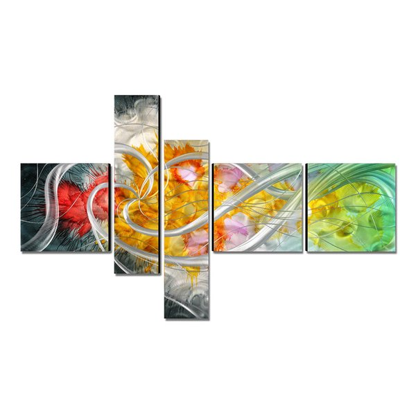 The Flower of the Life Modern Painting Hand-Painted Wall Art Home Decoration 5 Panels Decor Accessories for Living Room Gift
