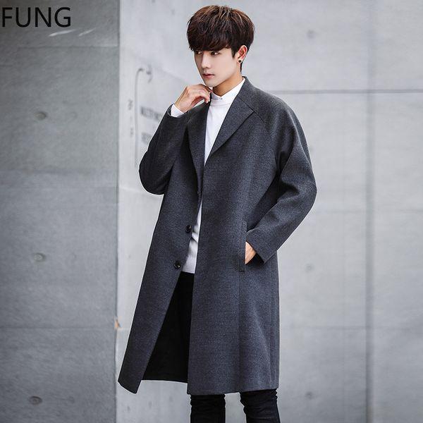 Novo 2018 casaco de inverno dos homens casaco longo casaco solto homens jovens roupas mens casacos de inverno e jaquetas