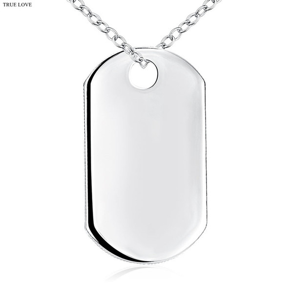 Fashion Tag Necklace 925 Silver Jewelry Pendant for boys Cool Christmas Gifts Top Quality Free Shipping-P