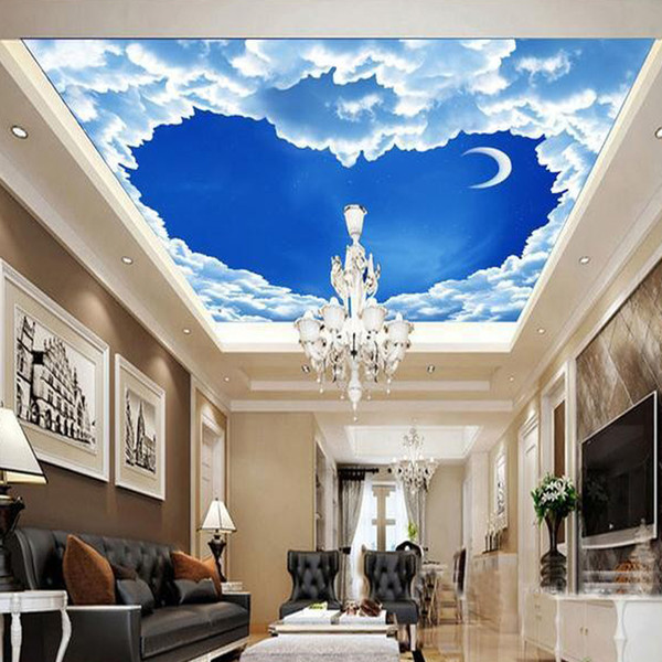 Custom 3D Mural Wallpaper Heart-shaped Blue Sky White Clouds Ceiling Frescoes Living Room Bedroom Ceiling Wall Papers Home Decor