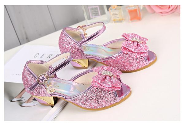 Pink Shiny Cinderella Sequins Sandal Designer Fashion Luxury Brand Girl Shoes Big Sequins Bow Designer Shoes Full Sequins Kids Formal Wear