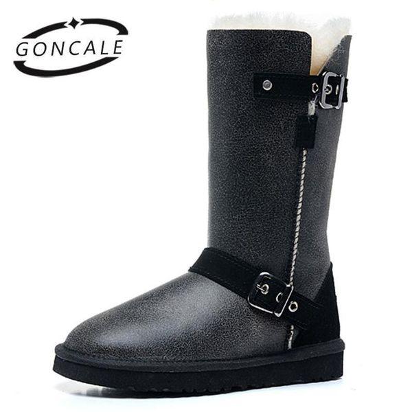 Goncale Classic Vera pelle di pecora Pelliccia di pecora foderato alta neve stivali invernali per le donne scarpe invernali impermeabile caldo nero