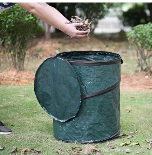 Portable Collapsible Pop-Up Leaf Trash Can Garbage Storage Bag Collection Bin 47*60cm Garden Camping Use