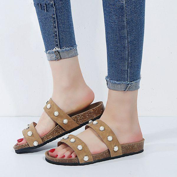 Pearl decoration 2019 cork sandals brand designer women flip flops unisex mixed color slippers shoes woman beach sandal