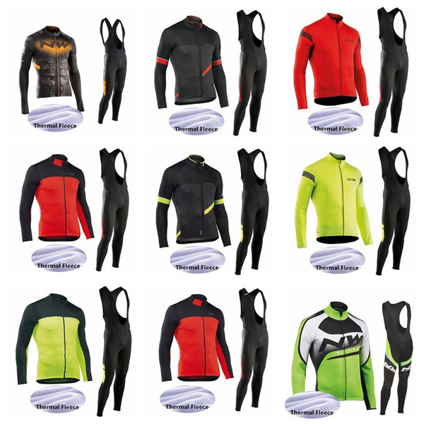NW team blue M Long Cycling Jersey Set Bike Pants Men Winter Thermal Fleece BICYCLE Maillot Culotte Clothing52339