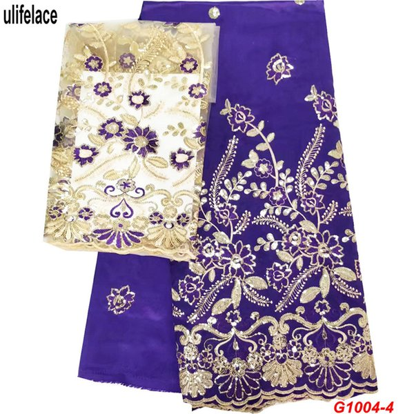 Purple Fabric Indian Raw Silk George Wrappers Material Embroidery Nigerian Georges Lace Fabric For Wedding 7 yards Sets African George G1004